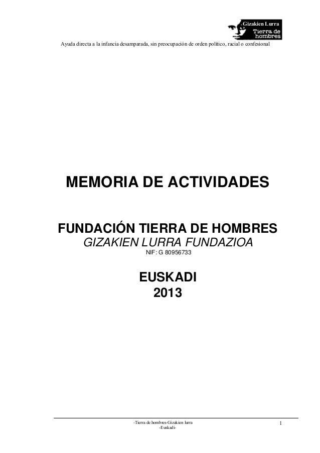 Memoria de actividades 2013 Tdh Delegación de Euskadi