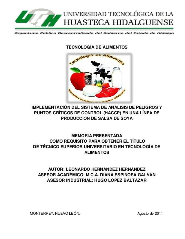 ii  TECNOLOGÍA DE ALIMENTOS  IMPLEMENTACIÓN DEL SISTEMA DE ANÁLISIS DE PELIGROS Y PUNTOS CRÍTICOS DE CONTROL (HACCP) EN UN...