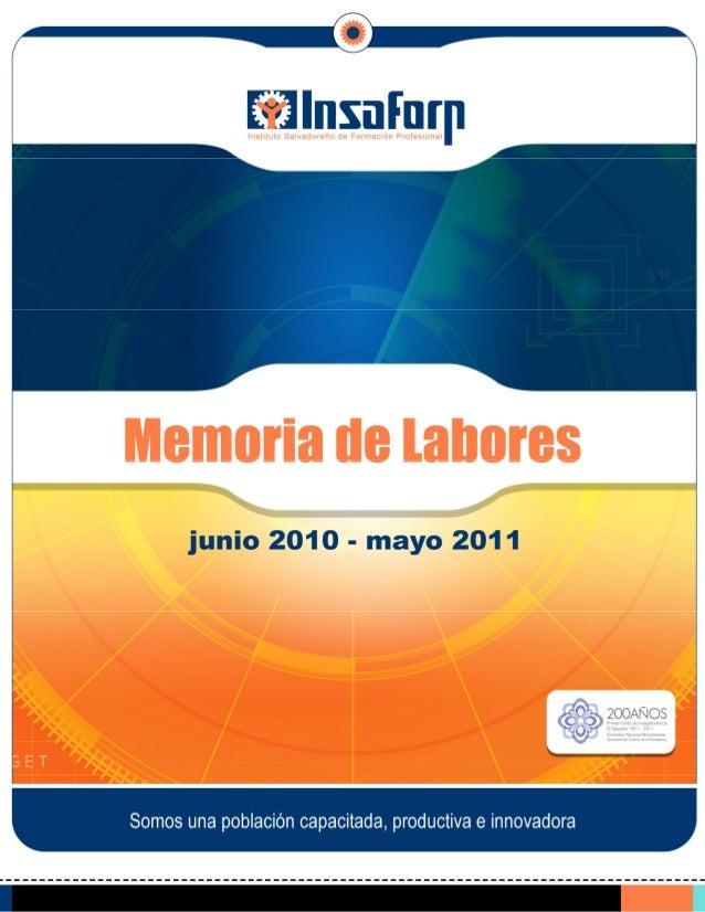 Memoria de Labores 2010 2011