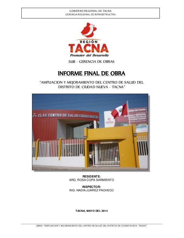 """OBRA: """"AMPLIACION Y MEJORAMIENTO DEL CENTRO DE SALUD DEL DISTRITO DE CIUDAD NUEVA - TACNA"""" GOBIERNO REGIONAL DE TACNA GERE..."""