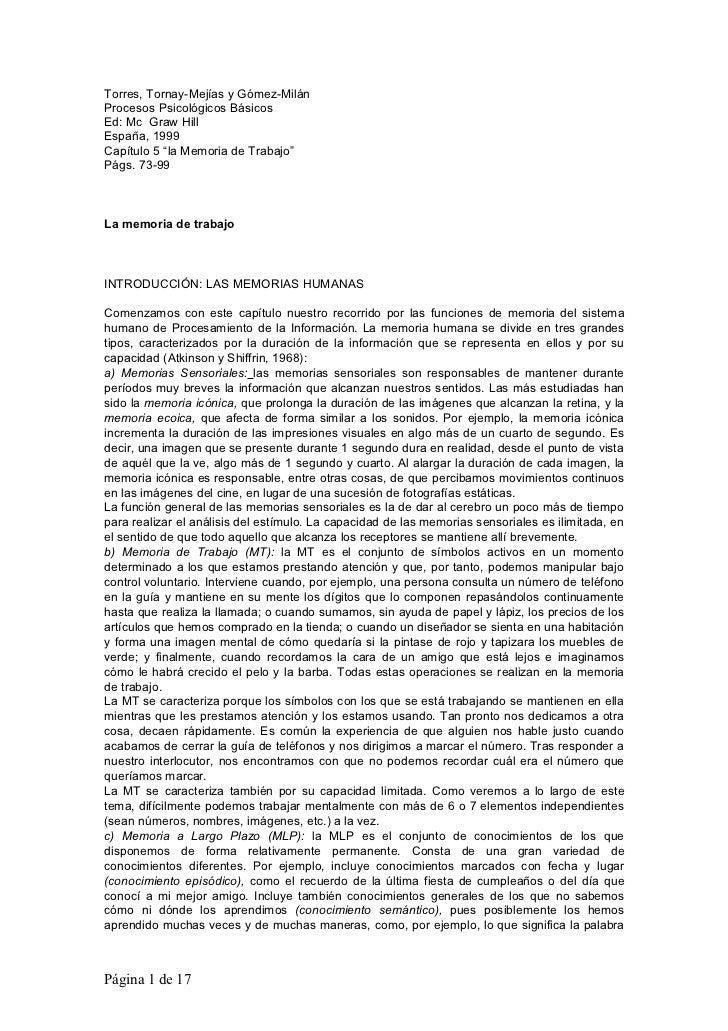 """Torres, Tornay-Mejías y Gómez-MilánProcesos Psicológicos BásicosEd: Mc Graw HillEspaña, 1999Capítulo 5 """"la Memoria de Trab..."""