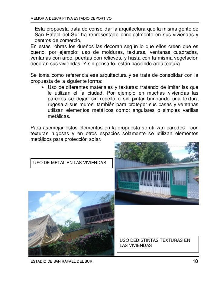 Memoria estadio san rafael el sur for Memoria descriptiva arquitectura
