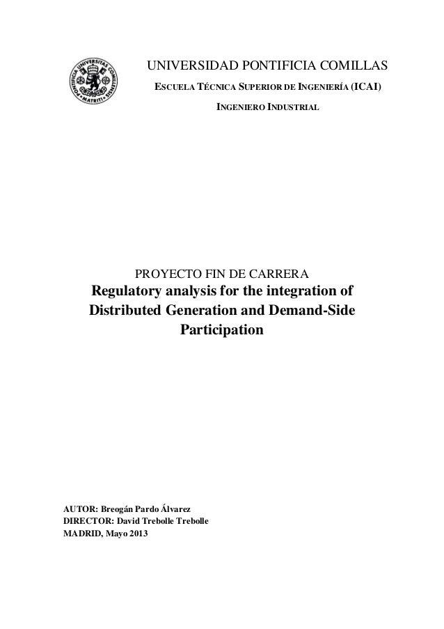 Regulatory analysis for the integration of Distributed Generation and Demand-Side Participation