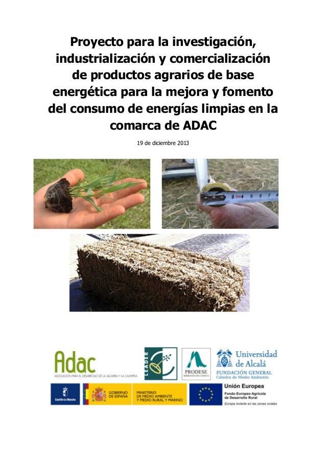 Estudio de potenciales agroenergéticas de ADAC (Guadalajara)
