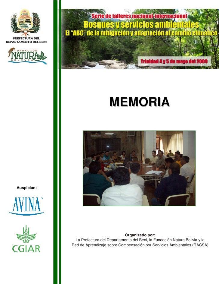 MEMORIA     Auspician:                                              Organizado por:                La Prefectura del Depar...