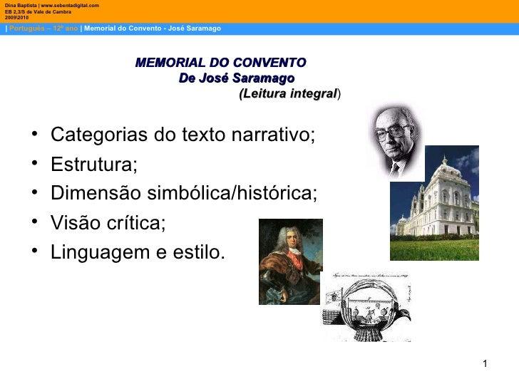 |  Português – 12º ano  | Memorial do Convento - José Saramago Dina Baptista | www.sebentadigital.com EB 2,3/S de Vale de ...