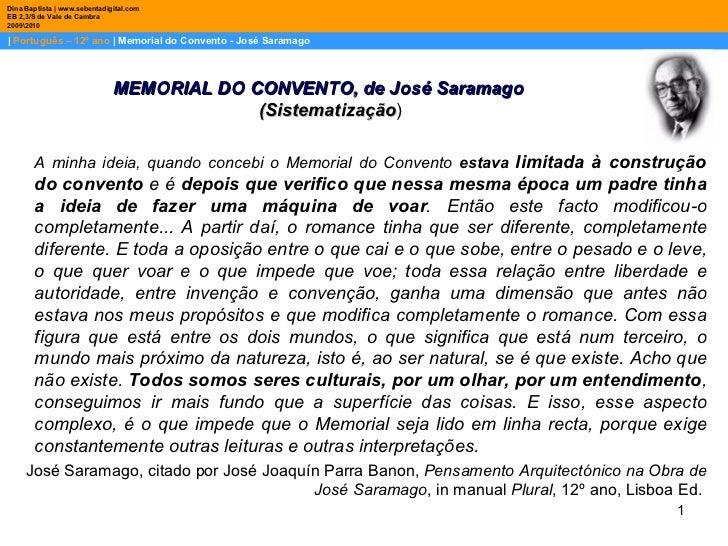    Português – 12º ano    Memorial do Convento - José Saramago Dina Baptista   www.sebentadigital.com EB 2,3/S de Vale de ...