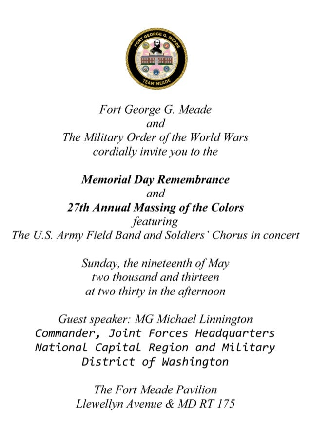Memorial day and massing of the colors invitation