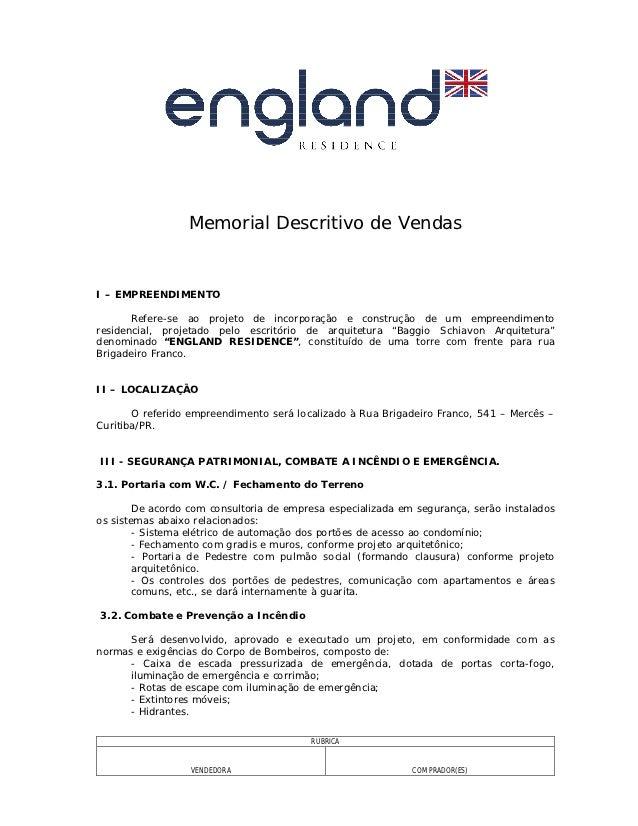 Memorial descritivo de vendas England Residence Rua Brigadeiro Franco, 541 – Mercês – Curitiba/PR