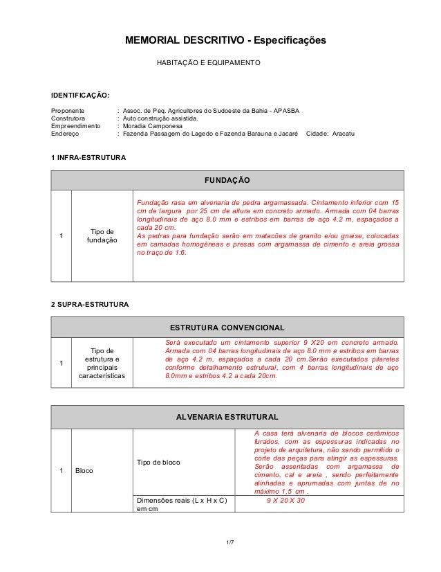 MEMORIAL DESCRITIVO - Especificações HABITAÇÃO E EQUIPAMENTO IDENTIFICAÇÃO: Proponente : Assoc. de Peq. Agricultores do Su...