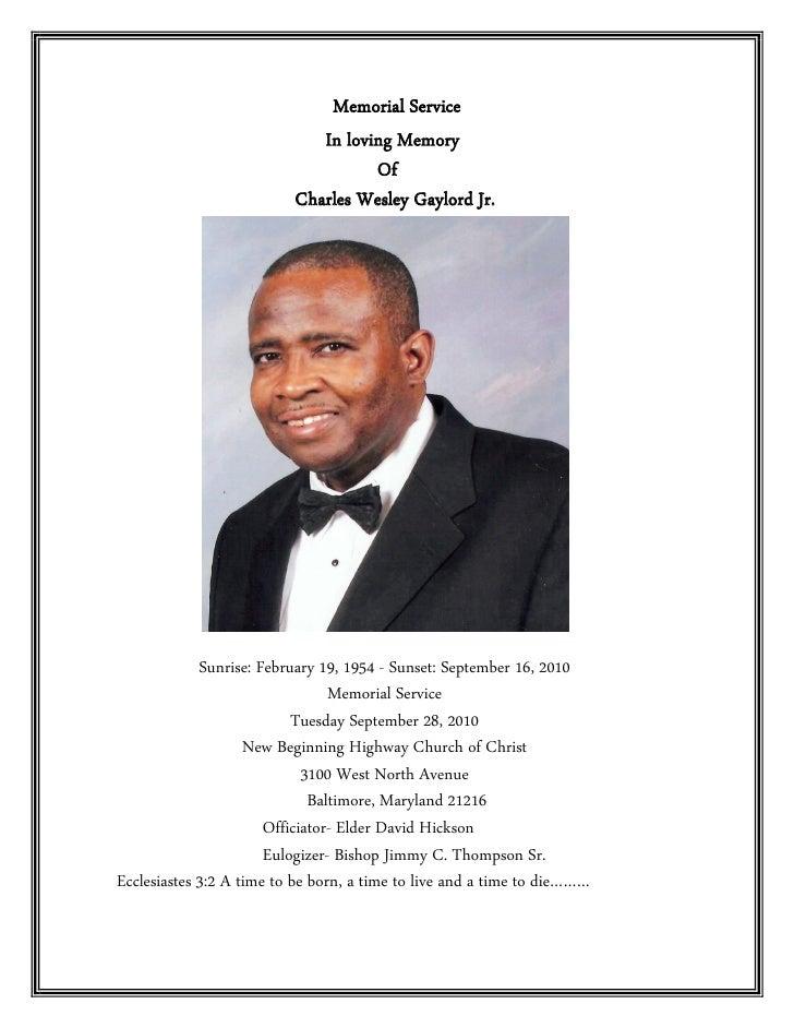 Memorial Service                              In loving Memory                                     Of                     ...