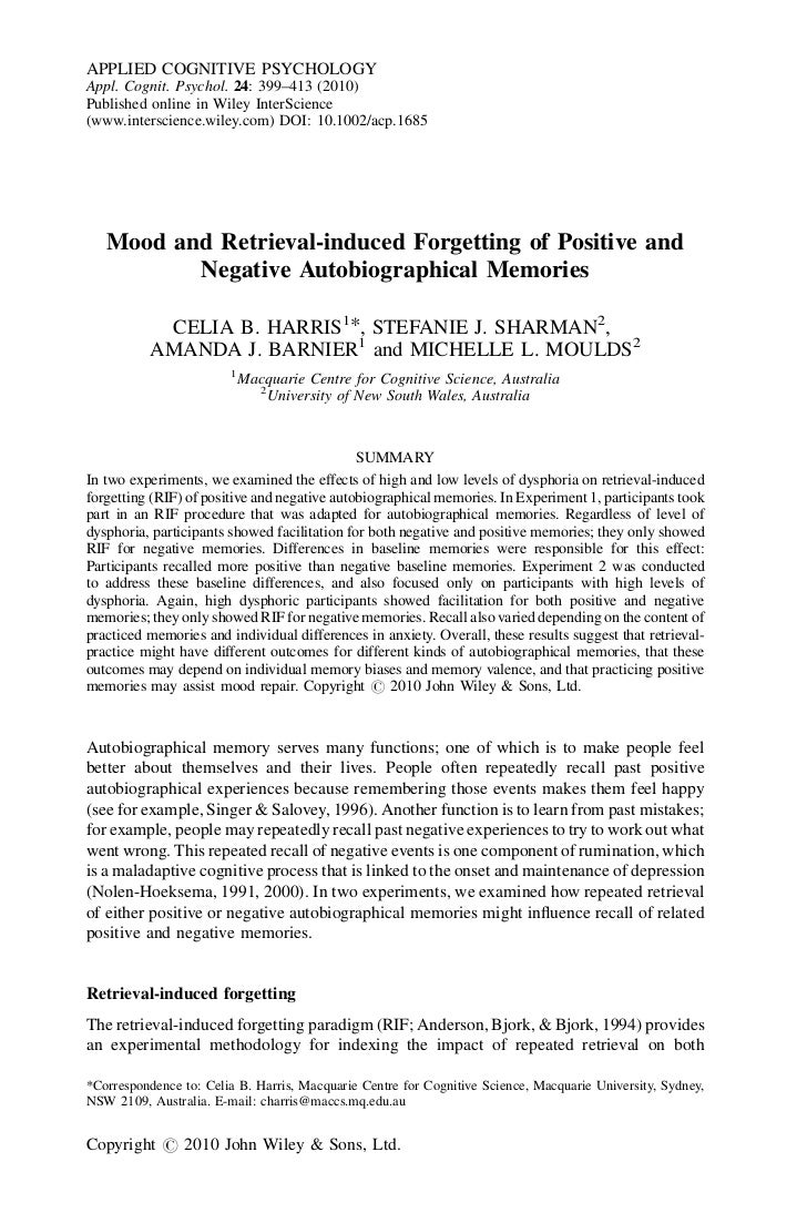 APPLIED COGNITIVE PSYCHOLOGYAppl. Cognit. Psychol. 24: 399–413 (2010)Published online in Wiley InterScience(www.interscien...