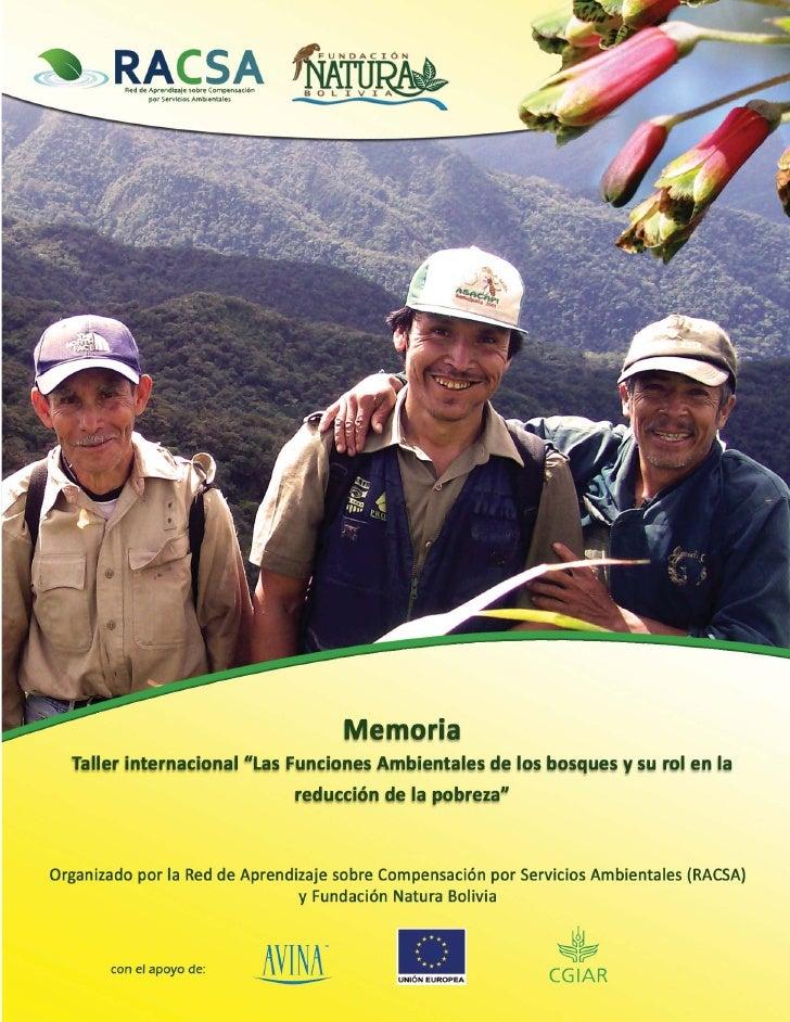 Memoria Las funciones ambientales de los bosques y su rol en la reducción de la pobreza