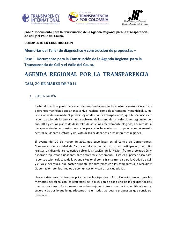 Memorias Agenda Regional por la Transparencia - Cali
