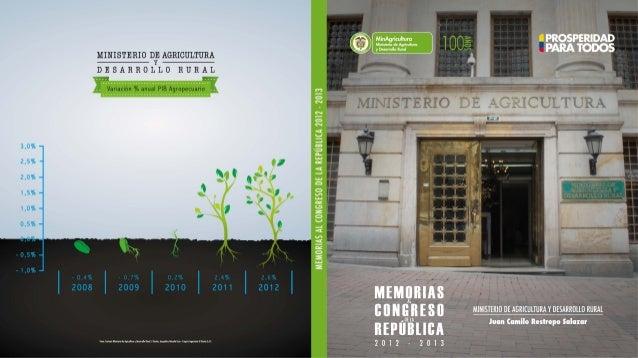 Ministerio de Agricultura y Desarrollo Rural República de Colombia M E M O R I A S ALCONGRESO DE LAREPÚBLICA 2012-2013 JUA...