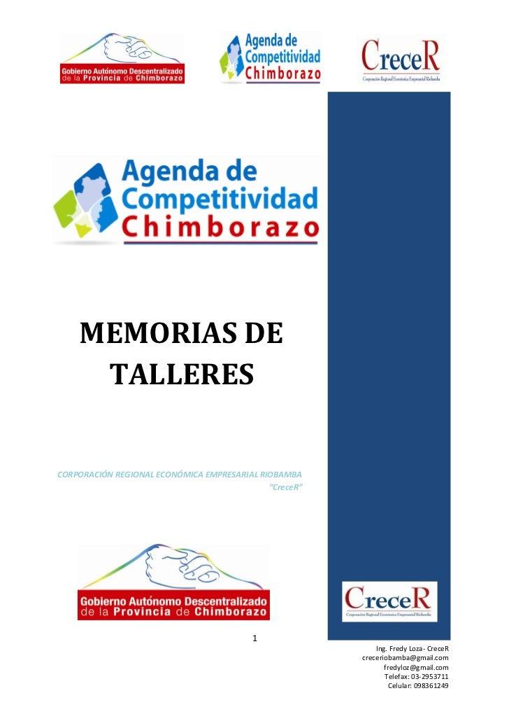Memorias de talleres agenda de competitividad 22 12-11