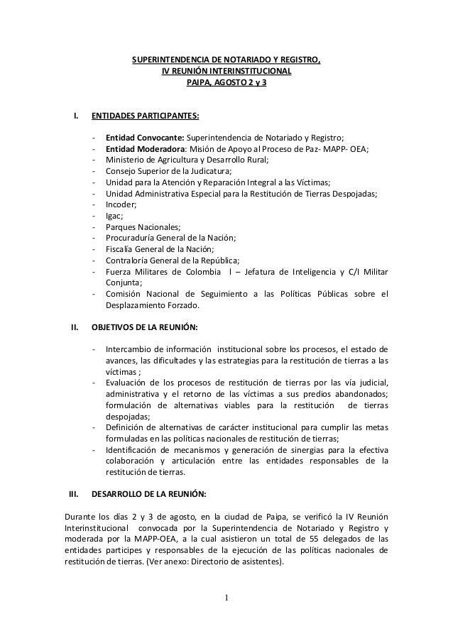 SUPERINTENDENCIA DE NOTARIADO Y REGISTRO, IV REUNIÓN INTERINSTITUCIONAL PAIPA, AGOSTO 2 y 3  I.  ENTIDADES PARTICIPANTES: ...