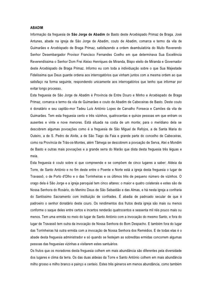 Memórias paroquiais de Cabeceiras de Basto (1758): Abadim