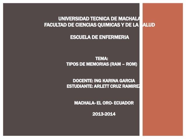 UNIVERSIDAD TECNICA DE MACHALA FACULTAD DE CIENCIAS QUIMICAS Y DE LA SALUD ESCUELA DE ENFERMERIA  TEMA: TIPOS DE MEMORIAS ...