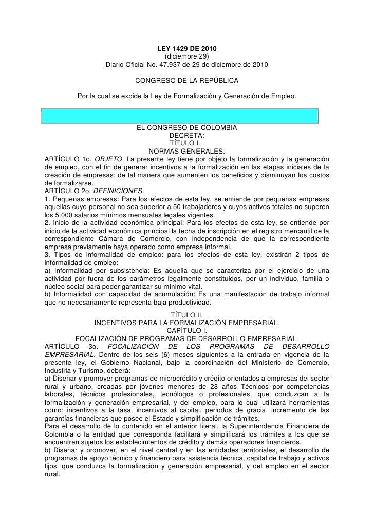 LEY 1429 DE 2010                                        (diciembre 29)                    Diario Oficial No. 47.937 de 29 ...