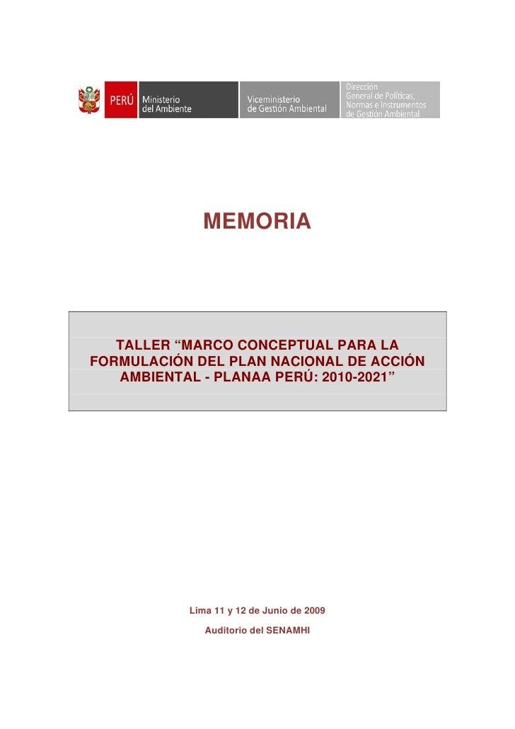 Memoria Taller Planaa 11 Y 12 Junio 2009