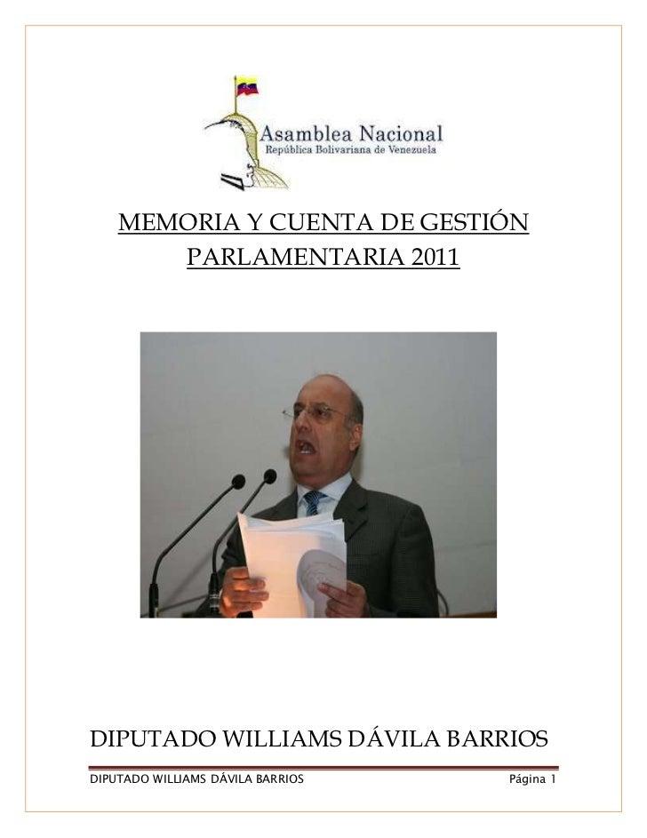 Informe de gestión parlamentaria William Dávila 2011