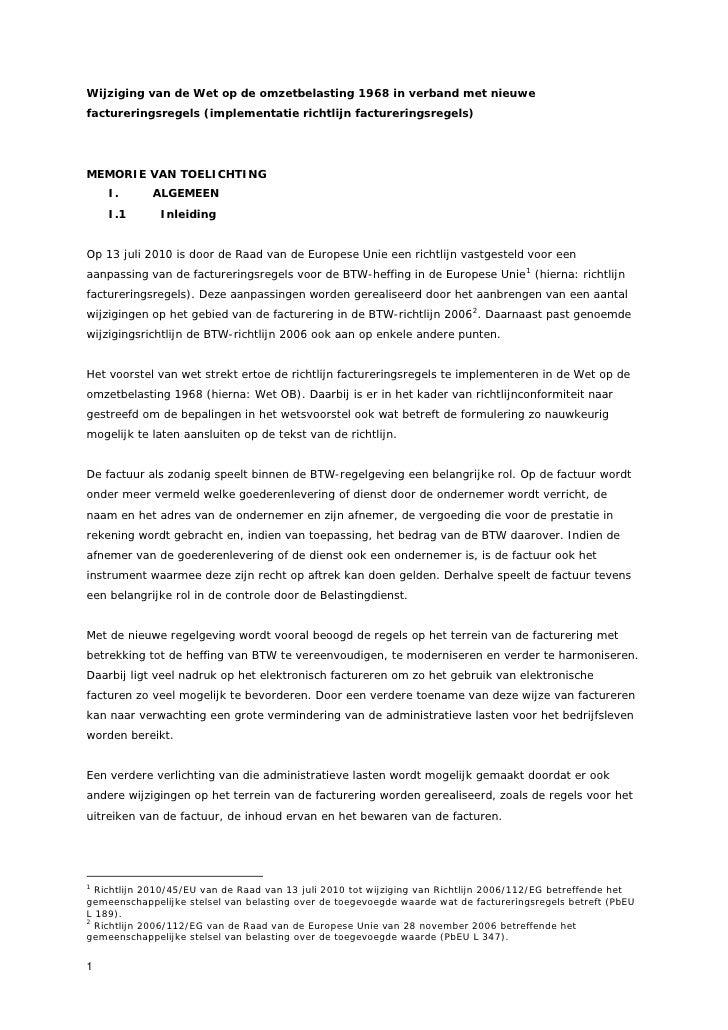 Memorie van toelichting implementatie richtlijn factureringsregels