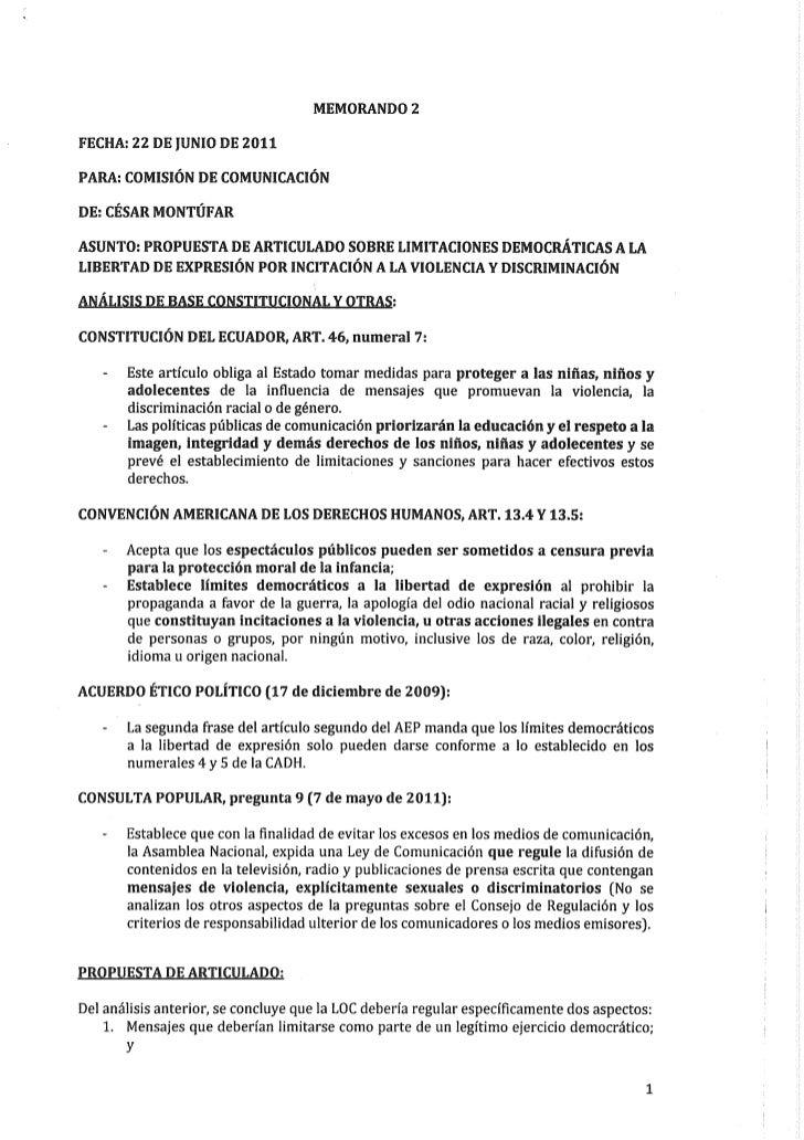 Propuesta de articulado a la Ley de Comunicación, Memorando 2