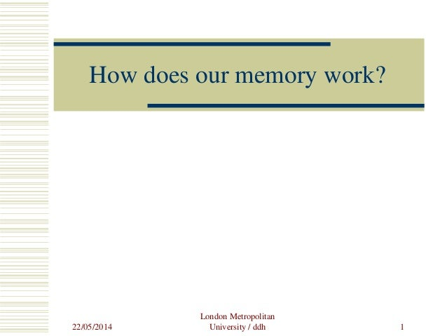 22/05/2014 London Metropolitan University / ddh 1 How does our memory work?