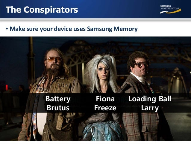 The Conspirators • Make sure your device uses Samsung Memory  Battery Brutus  Fiona Freeze  Loading Ball Larry