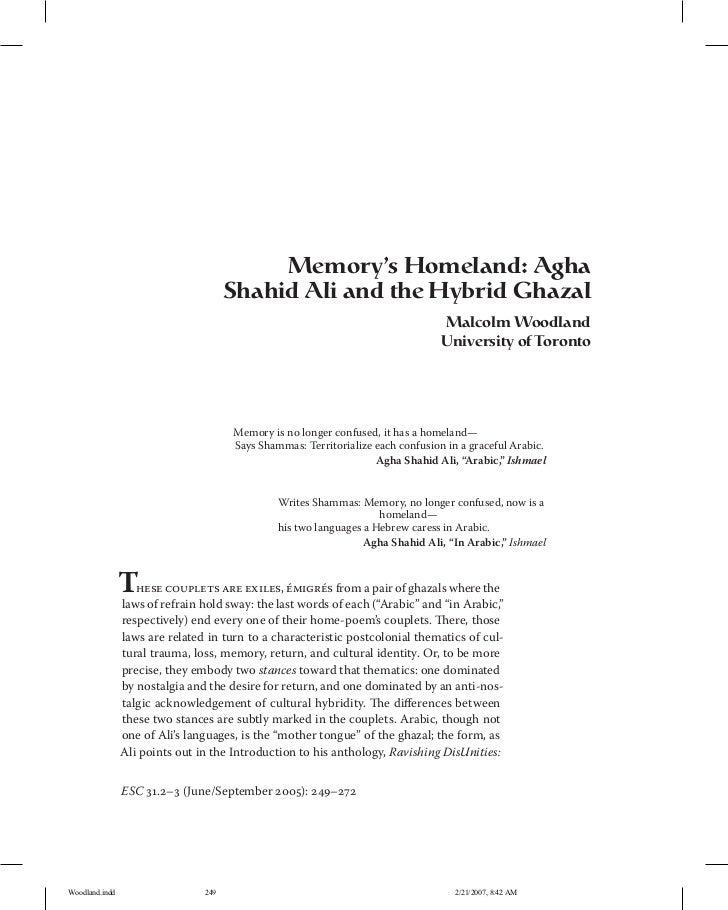 Memory's Homeland: Agha                                      Shahid Ali and the Hybrid Ghazal                             ...