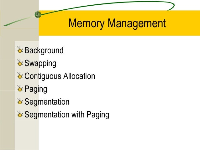 Memory ManagementBackgroundSwappingContiguous AllocationPagingSegmentationSegmentation with Paging