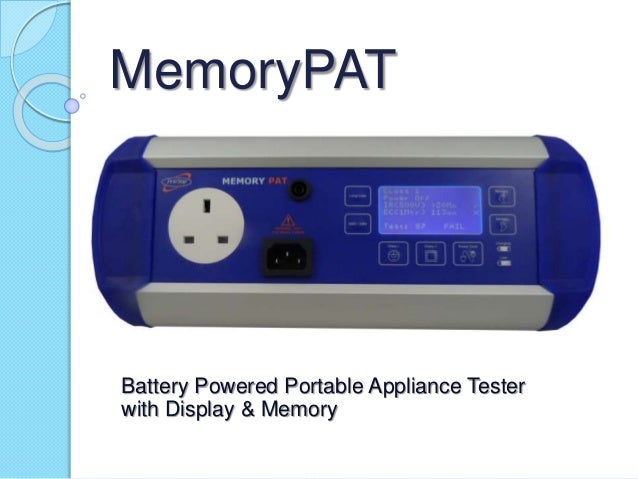 MemoryPAT Battery Powered Portable Appliance Tester with Display & Memory