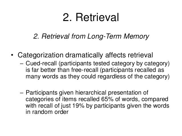 an experiment to see if interference affects recall in short term memory essay The recency effect occurs when the short-term memory is used that the effects of interference on in learning and recall memory to see what they were.