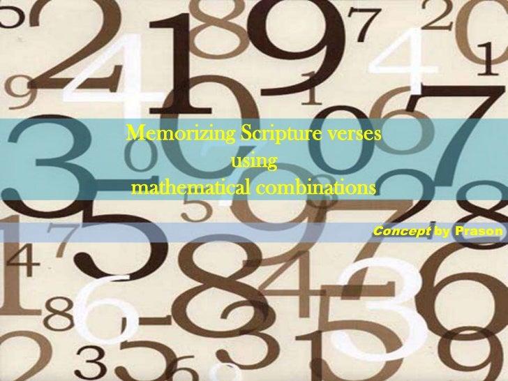 Memorizing Scripture verses          usingmathematical combinations                         Concept by Prason