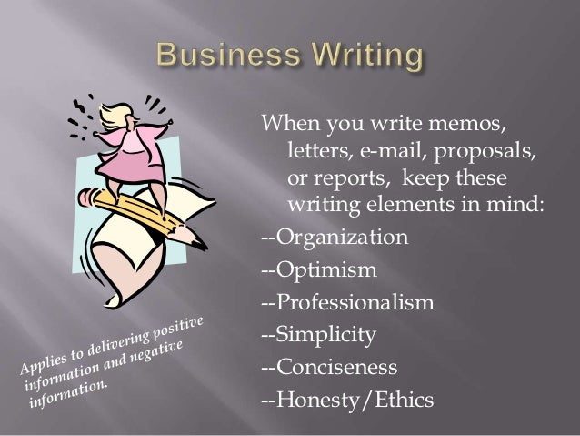 When you write memos,   letters, e-mail, proposals,   or reports, keep these   writing elements in mind:--Organization--Op...