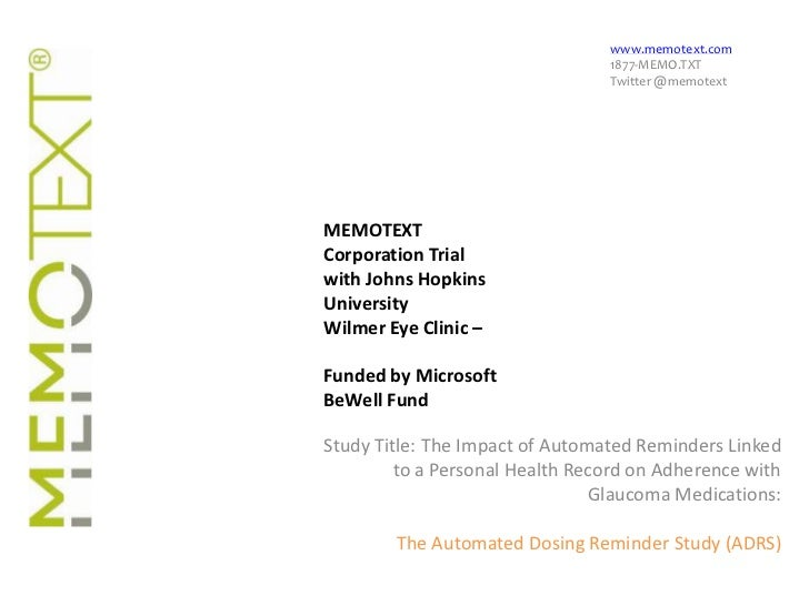 www.memotext.com<br />1877-MEMO.TXT<br />Twitter @memotext<br />MEMOTEXT Corporation Trial with Johns Hopkins University<b...