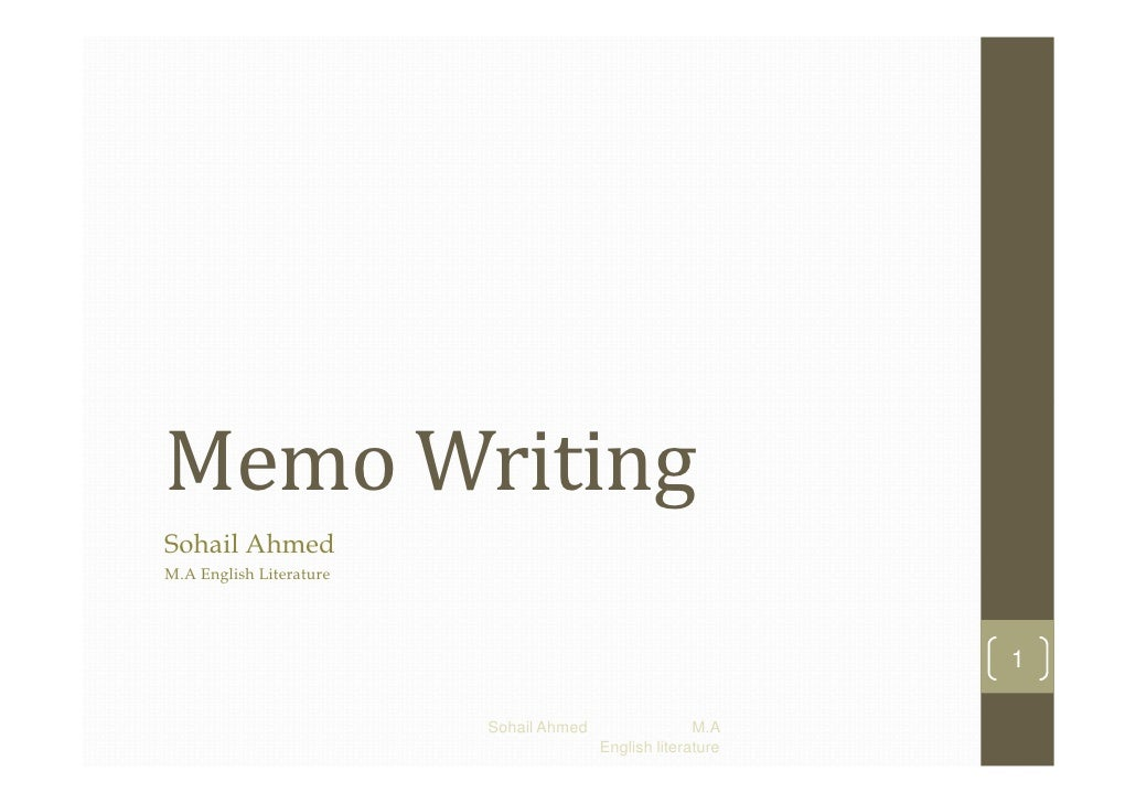 Memo writing by sohail ahmed