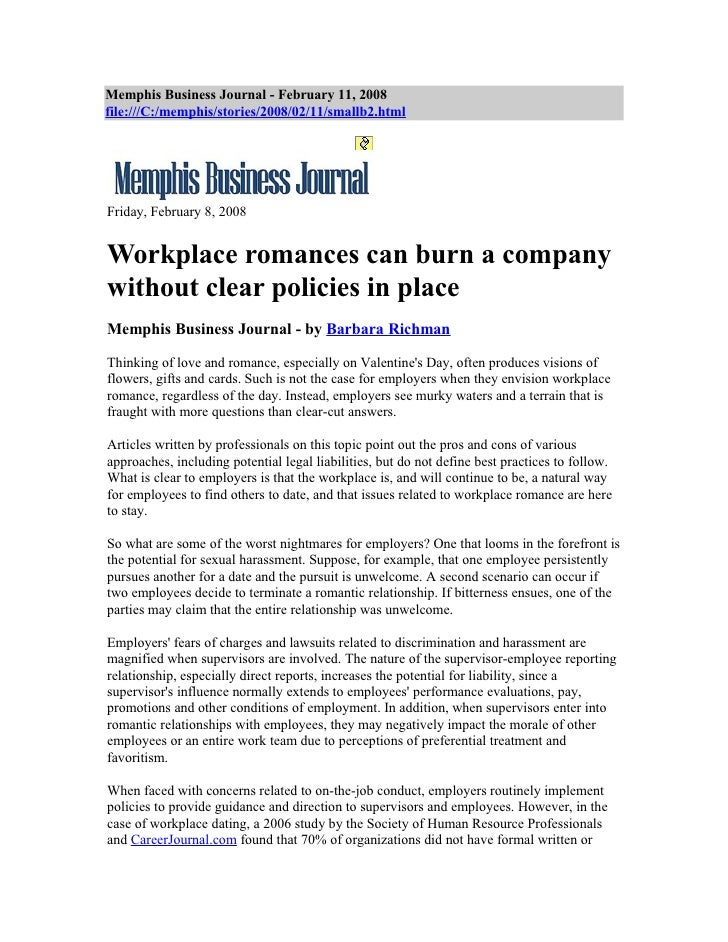 Workplace romances can burn a company without clear policies in place