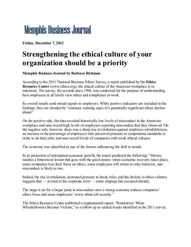 Friday, December 7, 2012Strengthening the ethical culture of yourorganization should be a priorityMemphis Business Journal...