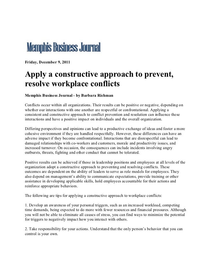Memphis Business Journal.Apply A Constructive Approach To Prevent, Resolve Workplace Conflicts.12.9.11