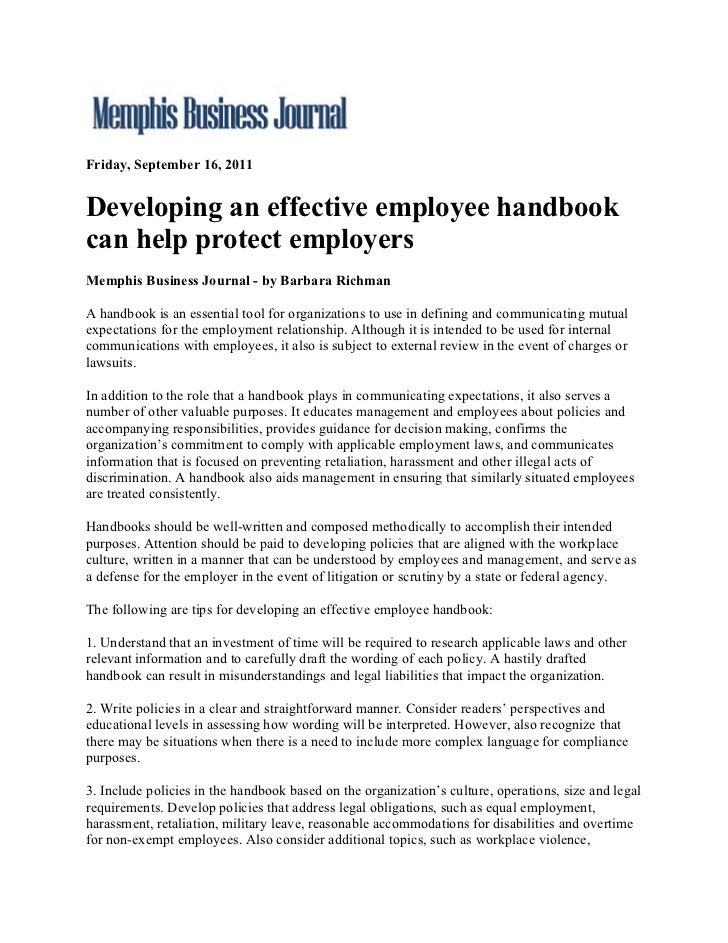 Memphis Business Journal.Developing An Effective Employee Handbook Can Help Protect Employers