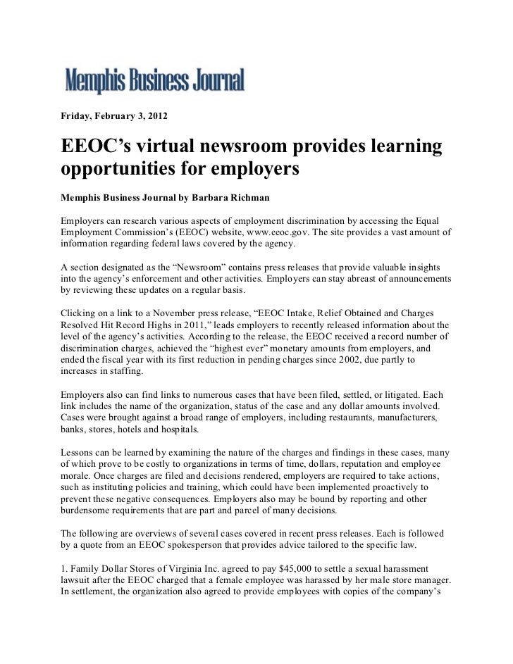 Memphis Business Journal.Eeo Cs Virtual Newsroom Provides Learning Opportunities For Employers.2.3.12