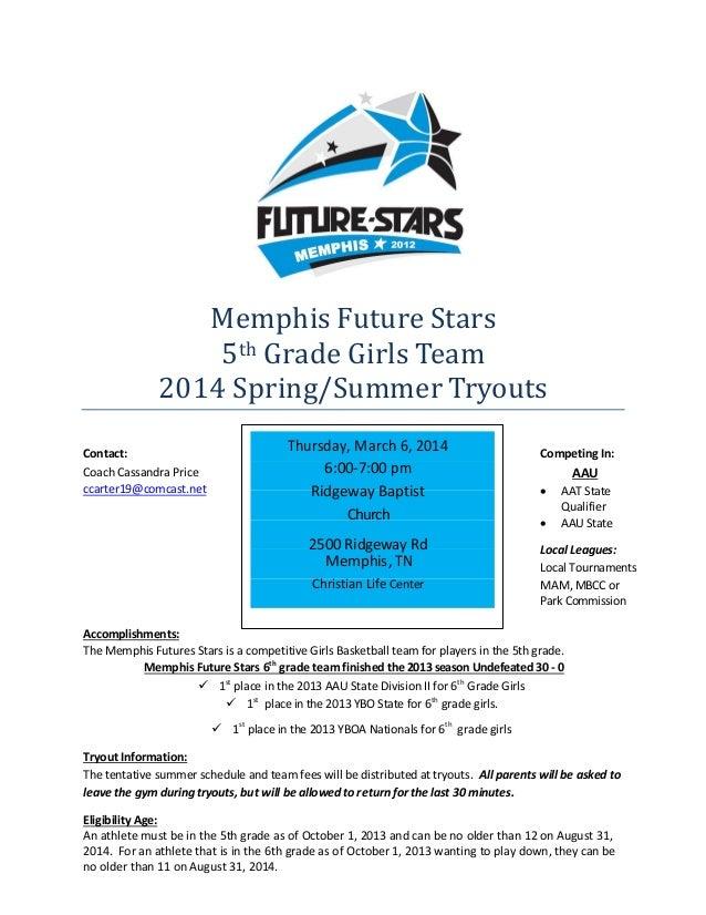 Memphis Future Stars 5th Grade Girls Team 2014 Spring/Summer Tryouts Contact: Coach Cassandra Price ccarter19@comcast.net ...
