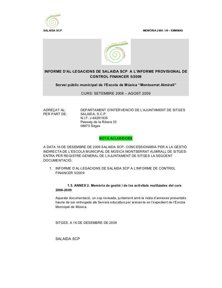SALAIDA SCP                                                      MEMÒRIA 2008 / 09 - EMMMASINFORME D'AL·LEGACIONS DE SALAI...