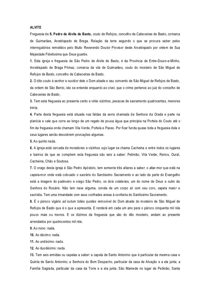 ALVITEFreguesia de S. Pedro de Alvite de Basto, couto de Refojos, concelho de Cabeceiras de Basto, comarcade Guimarães, Ar...