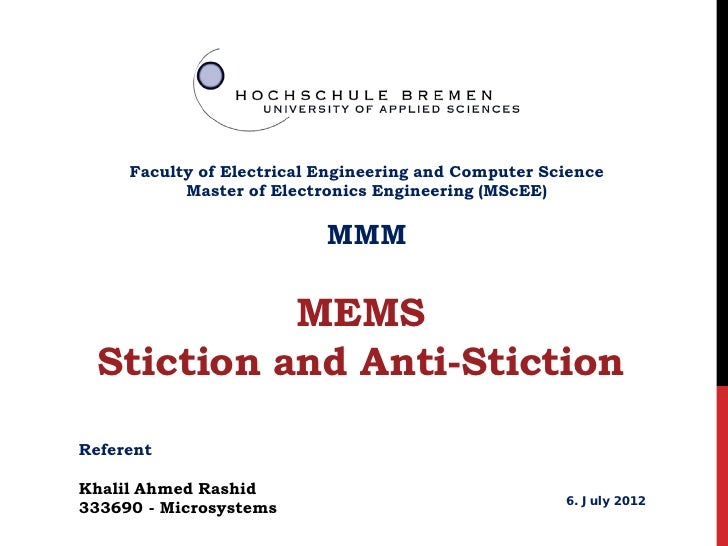 how to avoid stiction in mems