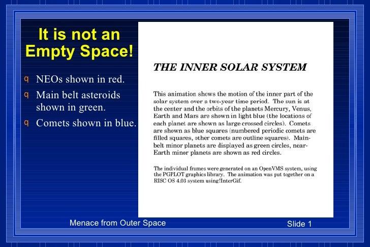 It is not an Empty Space! <ul><li>NEOs shown in red. </li></ul><ul><li>Main belt asteroids shown in green. </li></ul><ul><...