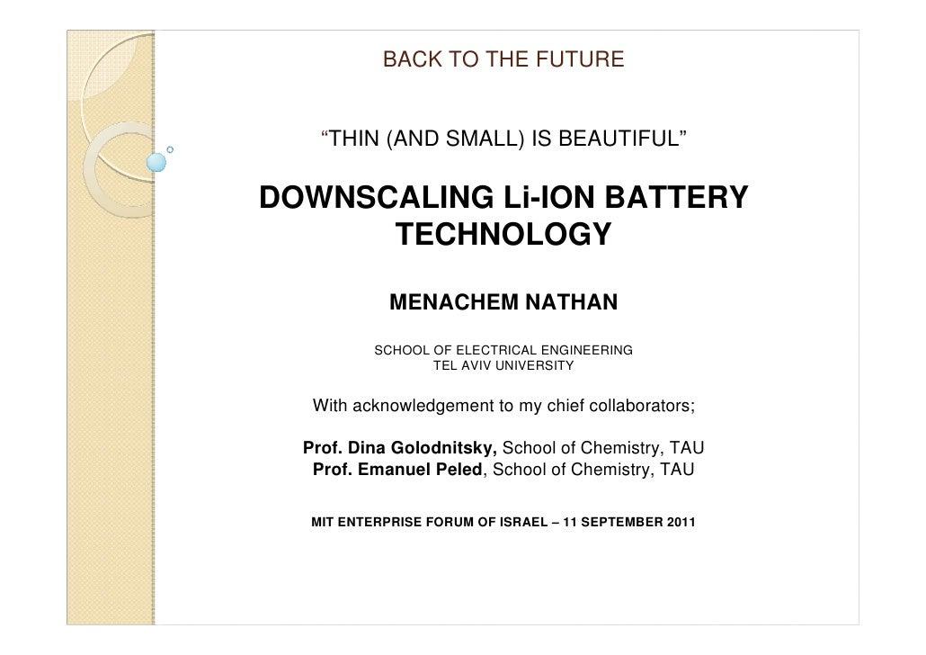Menachem Nathan - Downscaling Li-Ion Battery Technology