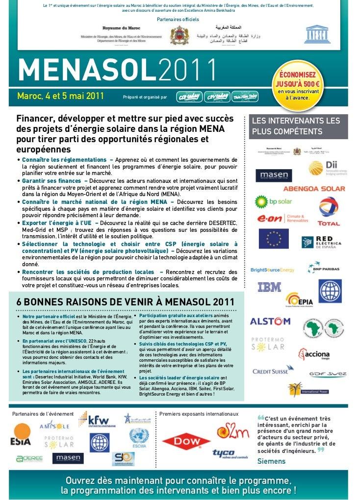 Le 1er et unique événement sur l'énergie solaire au maroc à bénéficier du soutien intégral du ministère de l'énergie, des ...